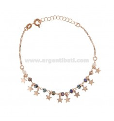 BRACELET WITH STARS AND PENDANT STONES IN ROSE SILVER TIT 925 ‰ CM 17-20