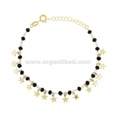BRACELET WITH STARS AND PENDANT STONES IN GOLDEN SILVER TIT 925 ‰ CM 17-20