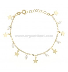BRACELET WITH STARS AND PEARLS IN GOLDEN SILVER TIT 925 17 CM 17-20