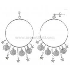 CIRCLE PENDANT EARRINGS WITH MONETINE IN SILVER RHODIUM TIT 925