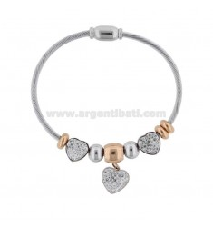 RIGID BRACELET WITH HEARTS AND TWO-COLORED STEEL STRASS CM 18