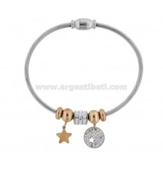 RIGID BRACELET WITH STARS AND TWO-COLORED STEEL STRASS CM 18