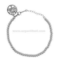 BRACELET WITH BALLS AND TREE OF LIFE IN STEEL CM 18
