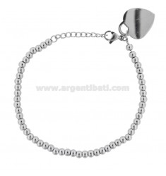 BRACELET WITH BALLS AND HEART IN STEEL CM 18