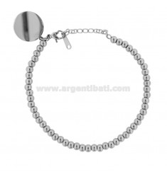 BRACELET WITH BALLS AND ROUND STEEL MEDAL CM 18