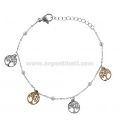 BRACELET WITH HEARTS IN TWO-COLORED STEEL AND 18 CM STRASS
