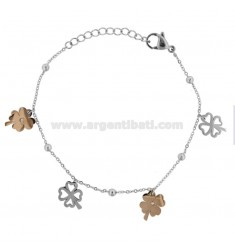 BRACELET WITH QUADRIFOGLI IN STEEL TWO-TONE AND STRASS CM 18