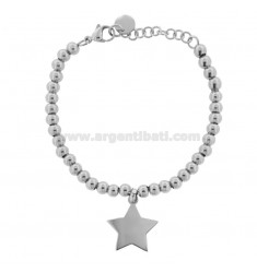 BRACELET WITH BALLS AND STEEL STAR CM 18
