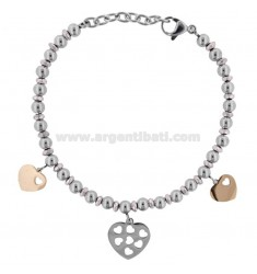 BRACELET WITH BALLS AND HEARTS IN TWO-COLORED STEEL CM 18