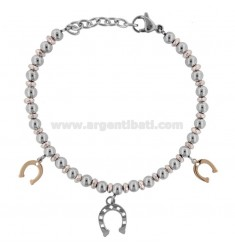 BRACELET WITH BALLS AND HORSES IN TWO-COLORED STEEL CM 18
