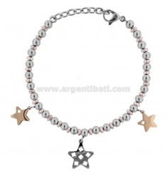 BRACELET WITH BALLS AND STARS IN TWO-COLORED STEEL CM 18