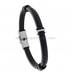 LEATHER AND CUFF BRACELET IN STEEL CM 21