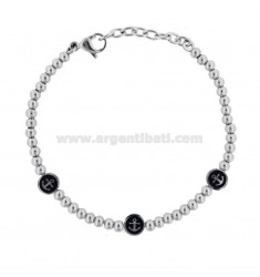 BRACELET WITH BALLS AND ANCHORS IN STEEL AND ENAMEL CM 21