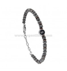 BRACELET WITH HAMMERED BALLS AND STAINLESS STEEL BICOLOR AND ENAMEL 21 CM