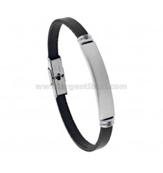 LEATHER BRACELET WITH STEEL PLATE AND ZIRCONIA CM 21