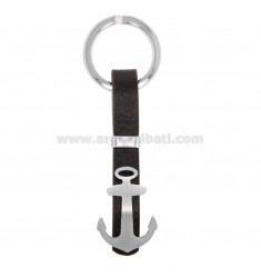 KEY RING WITH STAINLESS STEEL AND LEATHER STILL