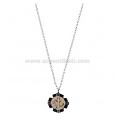 NECKLACE CABLE WITH STILL IN TWO-COLORED STEEL, ENAMEL AND STRASS CM 50