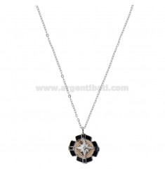 NECKLACE CABLE WITH WINDSCREEN ROSE IN TWO-COLORED STEEL, ENAMEL AND STRASS 50 CM