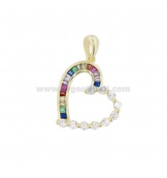 HEART PENDANT HEART 22X19 MM SILVER SILVER TIT 925 ‰ AND WHITE ZIRCONIA AND RAINBOW