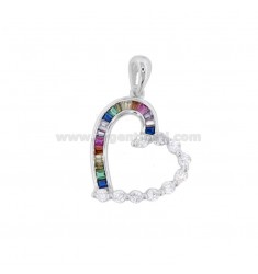 HEART PENDANT HEART 22X19 MM SILVER RHODIUM TIT 925 ‰ AND WHITE ZIRCONIA AND RAINBOW