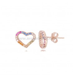 EARRINGS WITH HEART CONTOUR MM 9X11 IN ROSE SILVER AND RAINBOW ZIRCONIA