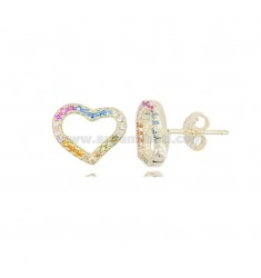 EARRINGS WITH HEART CONTOUR 9X11 MM IN GOLDEN SILVER AND RAINBOW ZIRCONIA