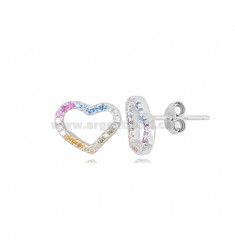EARRINGS WITH HEART CONTOUR MM 9X11 IN RHODIUM-PLATED SILVER AND RAINBOW ZIRCONIA