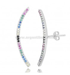 EARRINGS COMMA 32X2 MM IN RHODIUM-PLATED SILVER AND RAINBOW ZIRCONIA