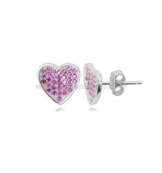 HEART EARRINGS MM 10X10 IN RHODIUM-PLATED SILVER AND RED ZIRCONS