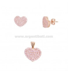 PENDANT AND HEART EARRINGS 13X15 MM SILVER ROSE TIT 925 AND PINK ZIRCONIA