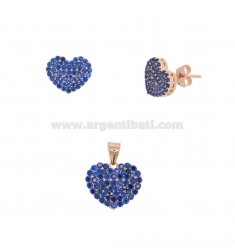 PENDANT AND HEART EARRINGS 13X15 MM SILVER ROSE TIT 925 AND BLUE ZIRCONIA