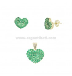 PENDANT AND HEART EARRINGS 13X15 MM SILVER SILVER TIT 925 AND GREEN ZIRCONIA