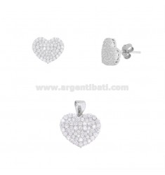PENDANT AND HEART EARRINGS 13X15 MM SILVER RHODIUM TIT 925 AND WHITE ZIRCONIA