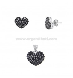 PENDANT AND HEART EARRINGS 13X15 MM SILVER RHODIUM TIT 925 AND BLACK ZIRCONIA