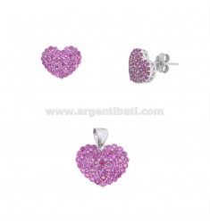 PENDANT AND HEART EARRINGS 13X15 MM SILVER RHODIUM TIT 925 AND RED ZIRCONIA