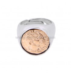 RING WITH COIN 16 MM SILVER RHODIUM AND ROSE TIT 925 ‰ SIZE ADJUSTABLE BY RULES