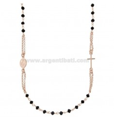 ROSARY NECKLACE IN TURN WITH BLACK STONES IN SILVER ROSE TIT 925 CM 50