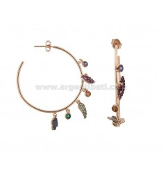CIRCLE EARRING IN SILVER ROSE TIT 925 AND COLORED ZIRCONIA