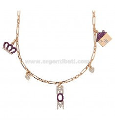 MOM NECKLACE IN SILVER ROSE TIT 925 AND COLORED ZIRCONIA
