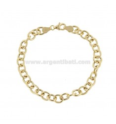 CABLE BRACELET 8X7 MM CANNA 1.4 MM 20 CM IN GOLDEN SILVER TITLE 925 ‰