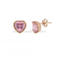 LOBO EARRINGS HEART 10 MM SILVER ROSE TIT 925 AND PINK ZIRCONIA