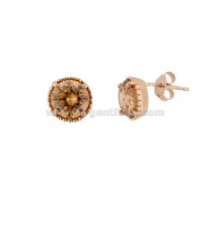 EARRINGS LOBO LIGHT POINT 10 MM SILVER ROSE TIT 925 AND YELLOW ZIRCONIA