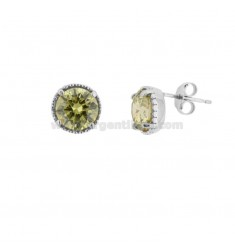 EARRINGS WITH LOBO POINT LIGHT 10 MM SILVER RHODIUM TIT 925 AND GREEN ZIRCONIA