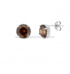 LOBO EARRINGS POINT LIGHT 10 MM SILVER RHODIUM TIT 925 AND SMOKE ZIRCONIA