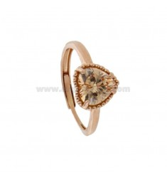 ADJUSTABLE RING WITH 10 MM HEART IN SILVER ROSE TIT 925 AND ZIRCONE CHAMPAGNE