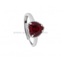 ADJUSTABLE RING WITH 10 MM HEART IN SILVER RHODIUM TIT 925 AND RED ZIRCONE