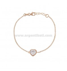 ROLO BRACELET 'CM 17-19 WITH 10 MM HEART IN SILVER ROSE TIT 925 AND WHITE ZIRCONE