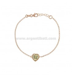 ROLO BRACELET 'CM 17-19 WITH 10 MM HEART IN SILVER ROSE TIT 925 AND GREEN ZIRCONE