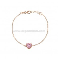 ROLO BRACELET 'CM 17-19 WITH 10 MM HEART IN SILVER ROSE TIT 925 AND ROSE ZIRCONE