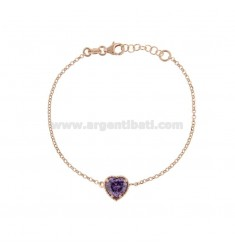 ROLO BRACELET 'CM 17-19 WITH 10 MM HEART IN SILVER ROSE TIT 925 AND PURPLE ZIRCONE